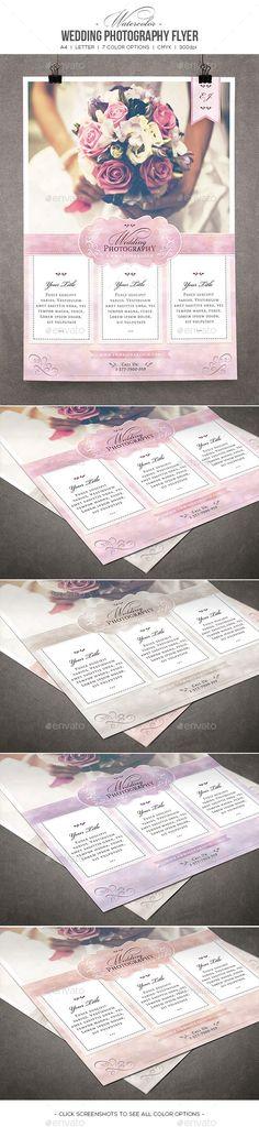Watercolor Wedding Photography Flyer - Commerce Flyers