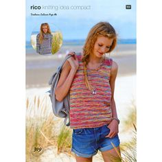 Ladies Vest, Top and Snood knitted in Rico Fashion Colour Pop DK - Digital Version Hand Knitting Yarn, Beach Color, Knitting Supplies, Fashion Colours, Colour Pop, Knit Crochet, Vest, How To Wear, Collection