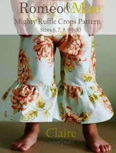 Claire Mighty Ruffle Crops Sewing Pattern Tutorial Instructions-Girls Sizes-6, 7, 8, 9, 10 | Meylah