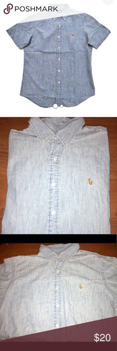 Ralph Lauren Denim Button Down A denim Ralph Lauren Button Down Short Sleeve Shirt, great condition, size XL. Make offers and check out my other Men's Polo shirts to bundle and save! Ralph Lauren Shirts Casual Button Down Shirts