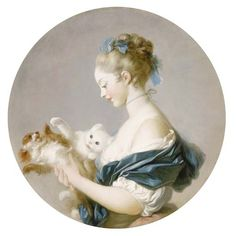 Jean-Honoré Fragonard - Girl Playing with a Dog and a Cat said to be a Portrait of Marie-Madeleine Colombe)
