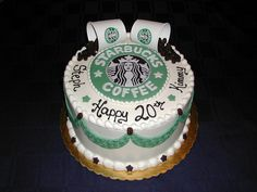starbucks round cake!! must make this for hubby's next birthday. Great idea for a Starbucks' lover!