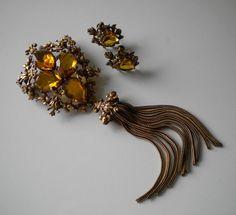 1940's Joseff of Hollywood Topaz Gold Gilt Pendant/Brooch Earrings