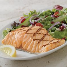 Grilled Salmon & Salad  Hand-Cut Atlantic Salmon is paired with a delicious Spring Mix or Caesar Salad. A healthy choice full of flavour and Omega 3.    Joey's Seafood Restaurants