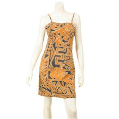 Geo Tapa Leaf Adjustable Strap Dress