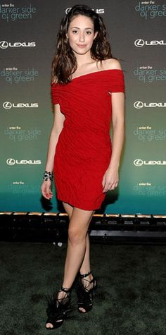 Look of the Day › March 31, 2010 WHAT SHE WORE Rossum chose a sexy red dress and feathered shoes, both from Donna Karan, and a Rachel Leigh bracelet for the Darker Side of Green Climate Change Debate at Skylight West in N.Y.C.