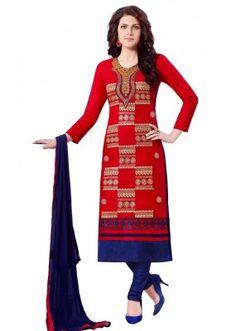 Office Wear Red & Blue Churidar Suit  - QUEEN1353