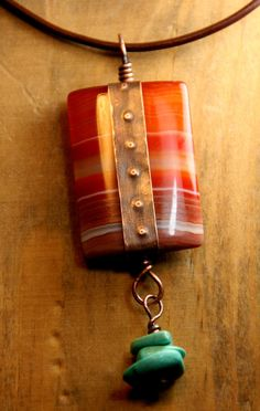 Desert Dawn  Layered Agate Focal Stone by AllowingArtDesigns, $39.00