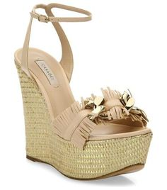 """leather fringe espadrille wedge sandals by Casadei. Metallic platform heightens fringe leather sandal. Metallic espadrille wedge heel, 3.25"""" (80mm).Metallic espadrille platform, 1.25"""" (30mm).Compares to a 2"""" heel (50mm).Leather upper. Open toe. Adjustable ankle strap. Leather lining and s... #casadei #nudeshoes #wedges"""