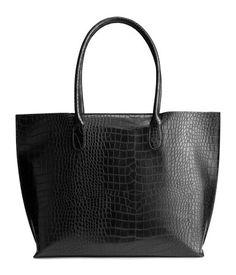 20€ - Shopper mit Krokoprägung | Schwarz | Damen | H&M DE