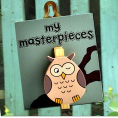A lovely wooden owl peg with lettering: 'My masterpieces'.Angelic Hen has wide range of little pegged out products, please see our products page for other designs.A perfect gift for any young child. This lovely wooden hand painted peg with an owl cut-out allows proud children to display their artwork. The peg and owl are hand painted in cream and brown, with black lettering. The pegs are made by our wild Welsh artists in Angelic Hen's beautiful Wye Valley studio. Wooden painted board, wooden…