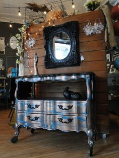 French Provincial Teal Server Cart in an oxidized copper finish with a sleek glossy black top. Modern Vintage