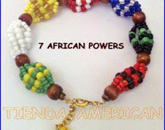 Santeria Yoruba. IDDE bracelet for 7 AFRICAN POWERS.  Pulsera para las 7 Potencias Africanas.