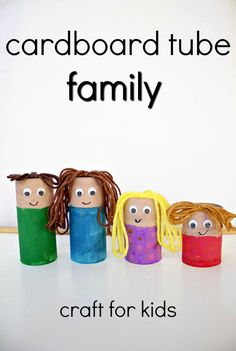 Upcycled Cardboard Tube Family Craft -Use for pretend play. Add to sensory bins, or act out stories for your preschool family theme Upcycled Cardboard Tube Craft Activities For Kids, Preschool Activities, Crafts For Kids, Preschool Art, Preschool Social Studies, Summer Activities, Preschool Family Theme, Family Crafts, Cardboard Tube Crafts