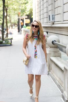 Love the multicolor of this embroidered dress