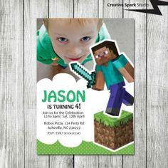 Minecraft Steve Professional Personalised Birthday Party Invitations x 12