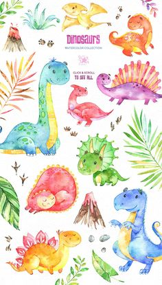 Poster for the children& room. Painting in Kinderposter. Malen in … Children Posters. Poster for the children& room. Painting in …, paint - Watercolor Clipart, Watercolor Paper, Watercolor Paintings, Dinosaur Art, Cute Dinosaur, Art And Illustration, Watercolor Illustration, Baby Poster, Poster Poster