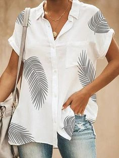 Button Up Casual Print Short Sleeves Polyester Lapel Shirt Blouses Blouses, veryvoga Short Sleeve Button Up, Short Sleeve Blouse, Short Sleeves, Holiday Blouses, Cheap Womens Tops, Blouse Online, Printed Blouse, Shirt Blouses, Casual Shirts