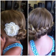 Up do flower girl hair idea