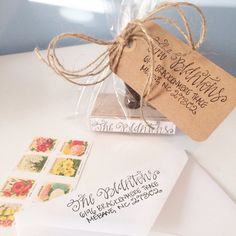 Put an extra special touch on your future correspondence with a custom calligraphy hand stamp from all she wrote notes. These make the perfect