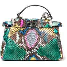 Fendi Python Peekaboo Charm ($1,750) ❤ liked on Polyvore featuring bags, handbags, shoulder bags, borse, fendi, crossbody, kirna zabete, mini tote, colorful tote bags and crossbody handbags