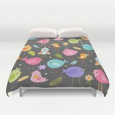 Birds Duvet Cover, Birds Comforter, Birds Bedding, Birds Bedspread, Birds bedroom, Pastel Birds, Childrens Duvet, Kids Duvet, feathers, gray by peppermintcreek. Explore more products on http://peppermintcreek.etsy.com