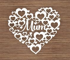 COMMERCIAL Mum in Hearts PDF SVG Instant Download by ArtyCuts