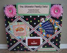 Instead of making a basket for a silent auction, I put the gift cards on a memo board and used scrapbook paper to accent the cards. I also added two daisy hair clips I made.