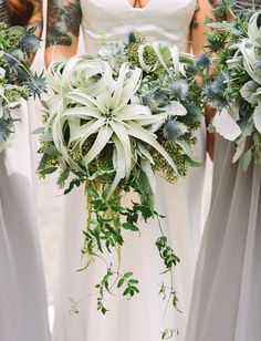 best + most popular wedding bouquets of 2016 // Edgy Bouquet Brimming with Air Plants, Thistle + Succulents