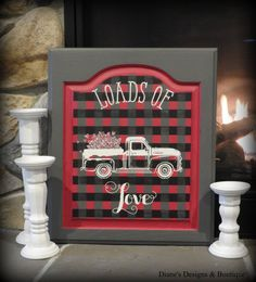 Pinterest Graphic – This one of a kind decor will look beautiful in your home. This whimsical handcrafted design, created on a refurbished cabinet door, features a vintage truck carrying pink glittered hearts over a hand-painted buffalo plaid design in Charcoal Grey and