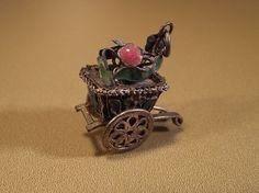 Chinese Enameled Flower Cart Moving Wheels Charm