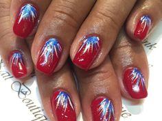July 4th Nails Designs, 4th Of July Nails, 4th Of July Fireworks, Toe Nail Designs, Fourth Of July, Fingernail Designs, Firework Nail Art, Usa Nails, Patriotic Nails