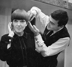 Vidal Sassoon (RIP) gives Mary Quant a modern cut, 1960s.