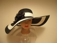 Hat - BLACK w/White Stripe X-Wide Brim Kentucky Derby Church Races Dress. Derby Attire, Derby Outfits, Dresses For The Races, Fascinator Diy, Fascinators, Fancy Schmancy, Stylish Hats, Church Hats, Kentucky Derby Hats