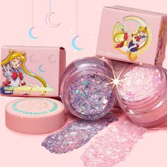 """ColourPop Launched a """"Sailor Moon"""" Collection and We're Obsessed Body Glitter, Glitter Gel, Pink Glitter, Kawaii Makeup, Cute Makeup, Crazy Makeup, Colourpop Cosmetics, Makeup Cosmetics, Makeup Eyeshadow"""