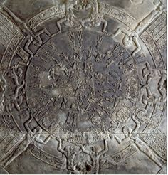 The Zodiac of Dendera is less well known, but it's no less important than the other five Egyptian antiquities. It was carved for the ceiling of a chapel dedicated to Osiris in Dendera, which is located north of ancient Thebes on the west bank of the Nile. Its uniqueness lies in its shape: the bas-relief is circular (rectangular zodiacs were more typical in Egypt).