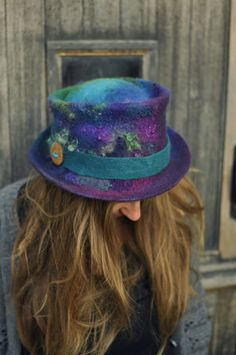Felt trilby - Magic Hat 'Peacock' - purple blue green - Hand felted hand-dyed wool & curls - Handmade Fiber ARtWeAR - Custom Made to Measure