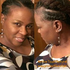 A protective style created in just 10 minutes. Four 2 strand twist going to the back, twisted together and pinned to form one small bun at the nape.