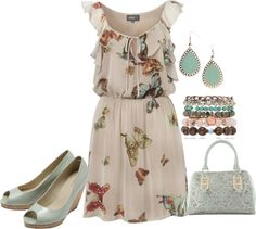 """""""Butterfly dress with wedge pumps"""" by lovelyingreen on Polyvore"""