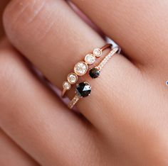 14kt rose gold and black rose cut diamond ring – Luna Skye by Samantha Conn