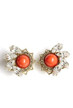 Crystal Cluster Orange Cabachon Earring by Anton Heunis