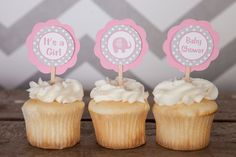 Elephant Baby Shower Decorations - CUPCAKE TOPPERS - It's a Girl Elephant Theme - Elephant Cupcake Toppers in Pink & Grey (12)