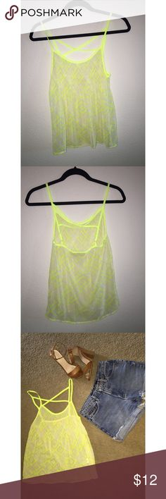 Geo Print Highlighter Tank Cool sheer highlighter yellow tank with cute strappy detail on back and awesome print. Adjustable straps with loose fitting. Pairs perfect with cutoff shorts and strappy sandals. Never worn. Vera Wang Princess collection Tops Tank Tops