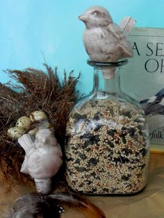 Re-purposed patron bottle with bird seed and a bird bottle stopper