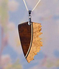 ash steel ethnic geometric tribal necklace natural exotic Pendant wood choker Padouk leaf beads pendant