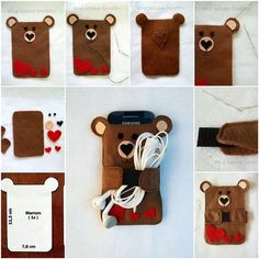 This cute Teddy Bear cellphone case can be a fun addition to your bag accessories. It's an important way of keeping your cellphone free of dents and scratches. Free template-> http://wonderfuldiy.com/wonderful-diy-teddy-bear-cellphone-case/