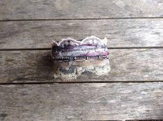 Leather and lace goth cuff upcycled jewelry by ThreadReverie