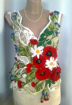 Russian Crochet, Japanese Crochet, Irish Crochet, Love Crochet, Crochet Flowers, Crochet Lace, Freeform Crochet, Crochet Stitches, Crochet Vest Pattern