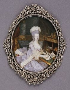 Marie Antoinette miniature by Francois Dumont Versailles, Marie Antoinette, Miniature Portraits, Miniature Paintings, French Royalty, French History, Louis Xvi, Antique Jewelry, Vintage Jewellery