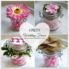 Four Pretty Wedding Favors in glass jars
